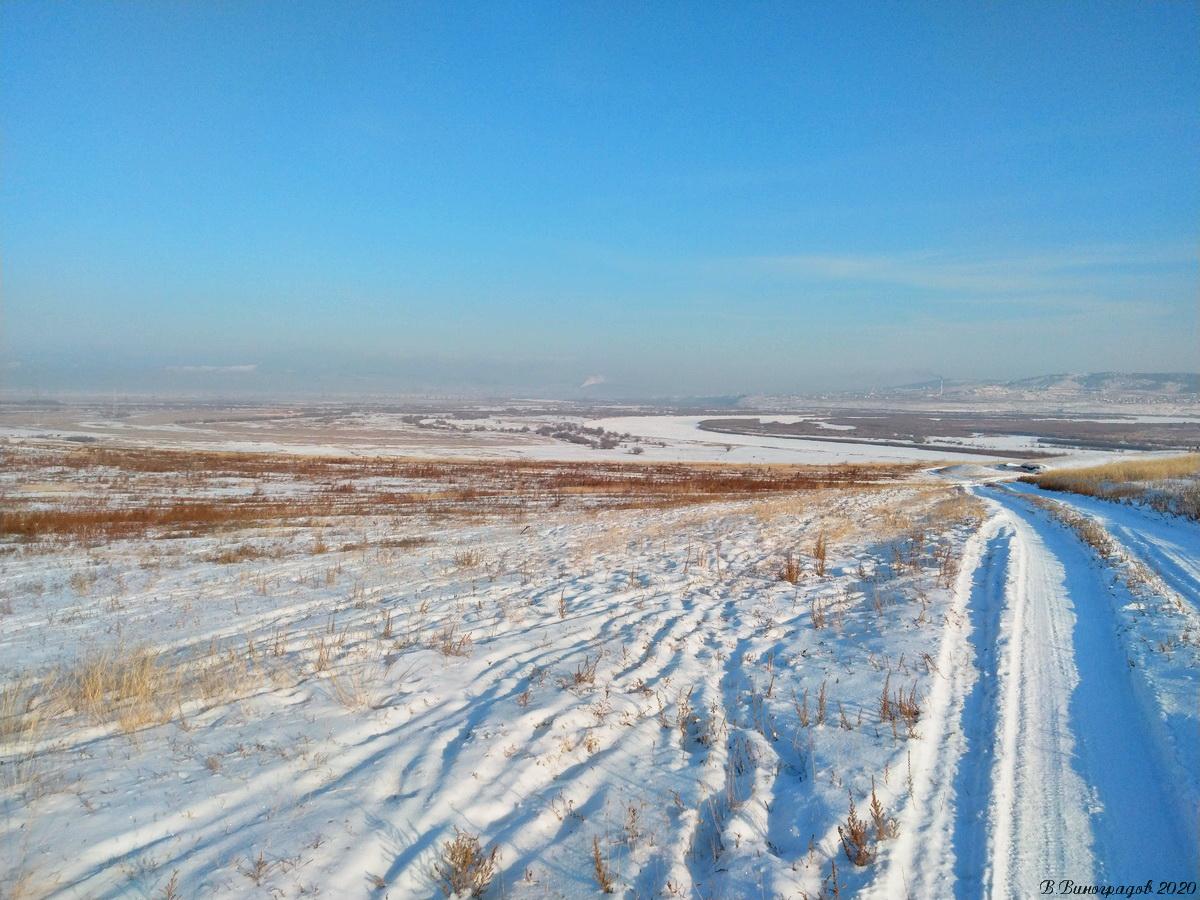 Зимняя дорога в степи
